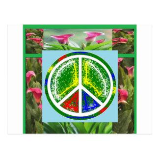 SÍMBOLO DE PAZ:  Flores artísticas verdes Postales