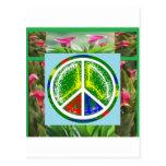 SÍMBOLO DE PAZ:  Flores artísticas verdes Tarjeta Postal