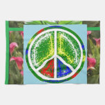 SÍMBOLO DE PAZ:  Flores artísticas verdes Toallas