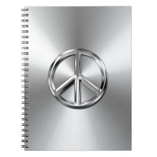 Símbolo de paz gráfico de la pendiente de acero libreta