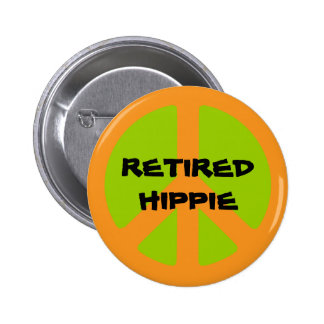 Símbolo de paz, Hippie jubilado, botón del pinback Pin Redondo De 2 Pulgadas