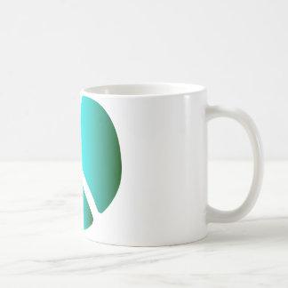 Símbolo de paz inusual, silueta del sello de la taza de café