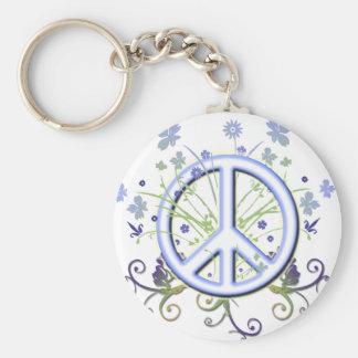 Símbolo de paz llavero redondo tipo pin