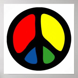 Símbolo de paz maravilloso del hippy impresiones