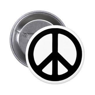 Símbolo de paz maravilloso negro clásico pin redondo 5 cm