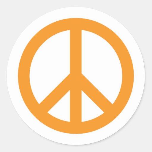 Símbolo de paz - naranja etiquetas redondas