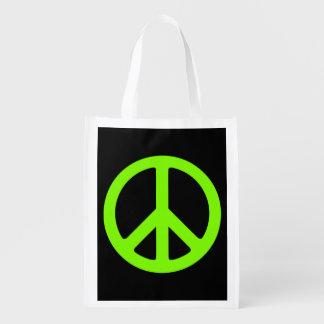 Símbolo de paz negro y chartreuse bolsa de la compra
