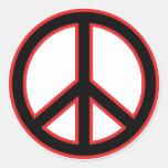 Símbolo de paz negro y rojo etiquetas redondas