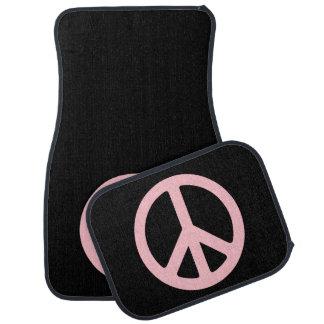 Símbolo de paz negro y rosado alfombrilla de auto