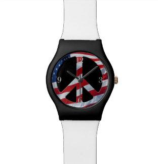 Símbolo de paz patriótico - bandera de los relojes de pulsera