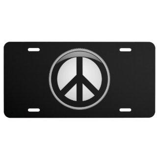 Símbolo de paz placa de matrícula
