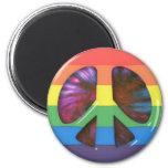 Símbolo de paz psicodélico del arco iris imanes de nevera
