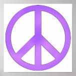 Símbolo de paz púrpura de la lavanda impresiones