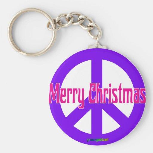 Símbolo de paz púrpura llavero redondo tipo pin