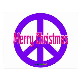 Símbolo de paz púrpura tarjetas postales