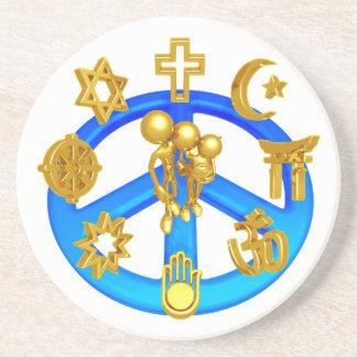 Símbolo de paz que une todas las religiones del mu posavaso para bebida