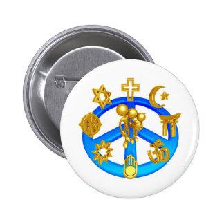 Símbolo de paz que une todas las religiones del pin redondo de 2 pulgadas