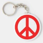 Símbolo de paz rojo llaveros personalizados
