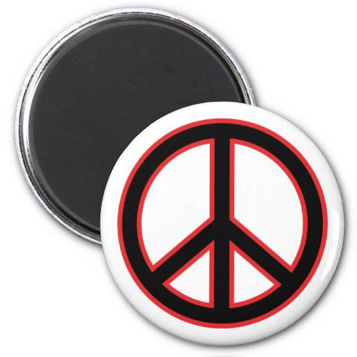 Símbolo de paz rojo y negro imanes para frigoríficos