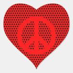 Símbolo de paz rojo y negro colcomanias de corazon personalizadas