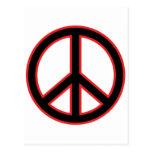 Símbolo de paz rojo y negro postales