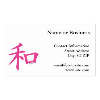 Símbolo de paz rosado chino tarjetas de visita