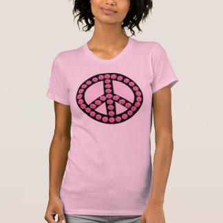 Símbolo de paz rosado lindo del flower power playera