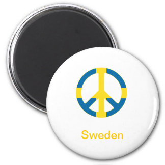 Símbolo de paz sueco de la bandera imán redondo 5 cm