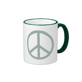 Símbolo de paz verde taza a dos colores