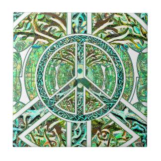 Símbolo de paz, Yin Yang, árbol de la vida en Azulejo Cuadrado Pequeño