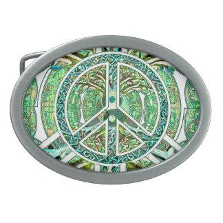 Símbolo de paz, Yin Yang, árbol de la vida en Hebillas De Cinturon Ovales