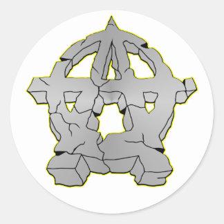 Símbolo de piedra de la anarquía de la roca pegatina redonda