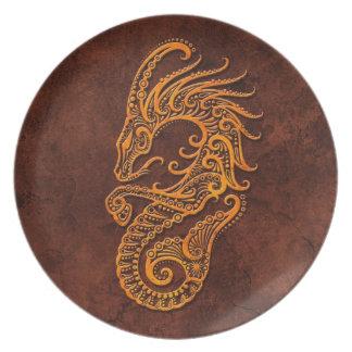 Símbolo de piedra del Capricornio de Intrictate Platos Para Fiestas