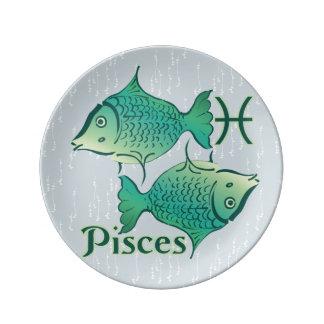 Símbolo de Piscis de la muestra del zodiaco Platos De Cerámica