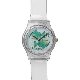 Símbolo de Piscis de la muestra del zodiaco Reloj De Mano