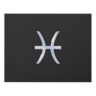 Símbolo de Piscis en estilo negro de la piel de Cuadro