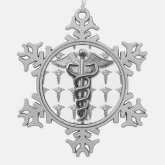 Símbolo de plata de la profesión médica adorno de peltre en forma de copo de nieve