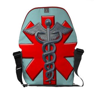 Símbolo de plata de la profesión médica bolsa messenger