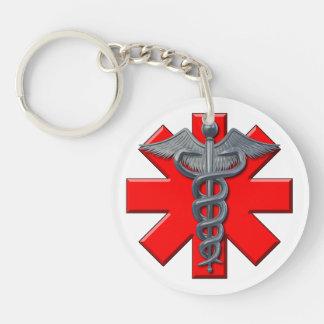 Símbolo de plata de la profesión médica llaveros