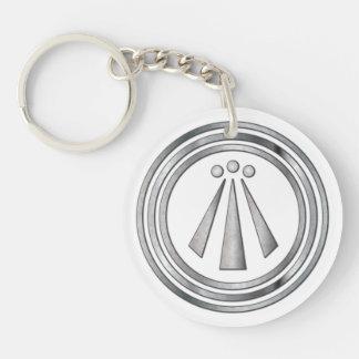 Símbolo de plata del Neo-Druida de Awen 3 - llaver Llavero Redondo Acrílico A Una Cara