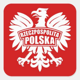 "Símbolo de Polonia ""Rzeczpospolita Polska"" Eagle Pegatina Cuadrada"