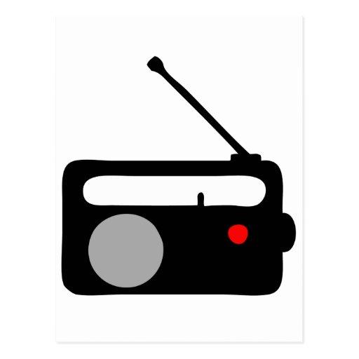SÍMBOLO DE RADIO DEL NEGRO DEL TRANSISTOR TARJETAS POSTALES