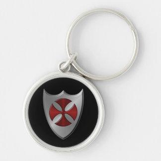 Símbolo de Templar de los caballeros Llavero Redondo Plateado