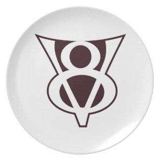 Símbolo de V8 Plato De Cena