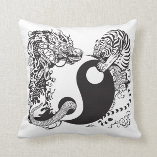 símbolo de yang del yin del dragón y del tigre cojines