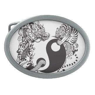 símbolo de yang del yin del dragón y del tigre hebilla cinturon oval