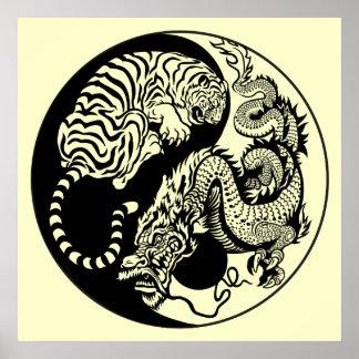 símbolo de yang del yin del dragón y del tigre impresiones
