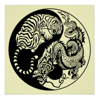símbolo de yang del yin del dragón y del tigre póster