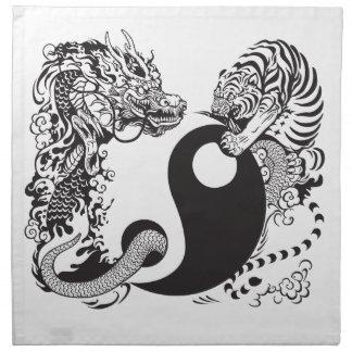 símbolo de yang del yin del dragón y del tigre servilleta