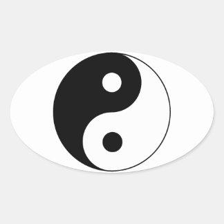 Símbolo de Yin/de Yang Calcomania De Óval